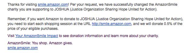 JOSHUA AmazonSmile Account   JOSHUA